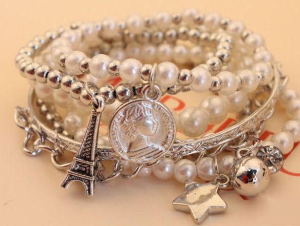 Wholesale Modern & Pretty Pearl Layered Bohemian Style Alloy Bracelet----Golden top dresses
