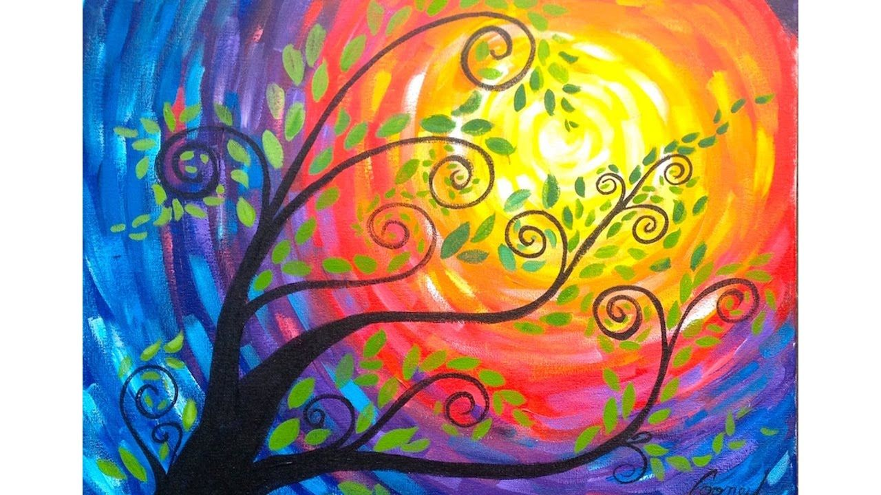 Whimsical tree beginner acrylic painting the art sherpa for How to paint a canvas for beginners