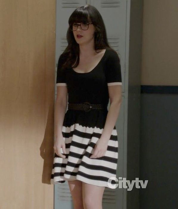 Black and white striped dress on New Girl