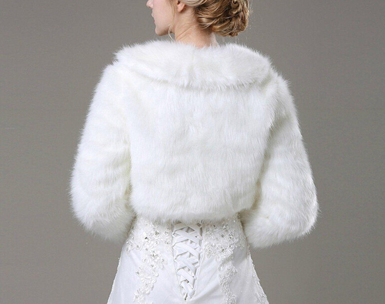 Dresses for a winter wedding reception  Liveinu Womenus Faux Fur Bridal Jacket Shrug Bolero Wedding Dress