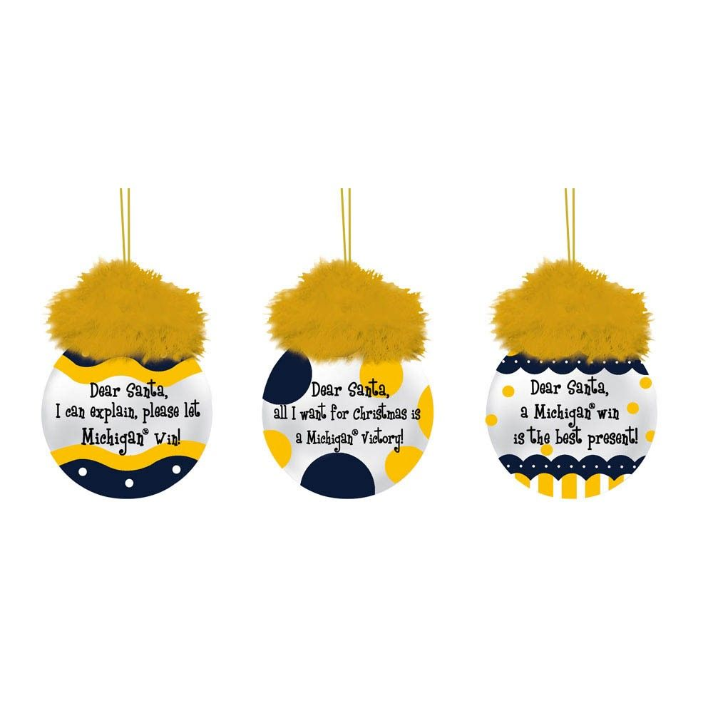 University of michigan christmas ornaments - University Of Michigan Team Sayings Christmas Ornaments