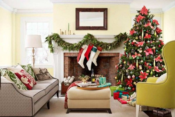 Festive pillow colors and draping mantel decor holiday decor