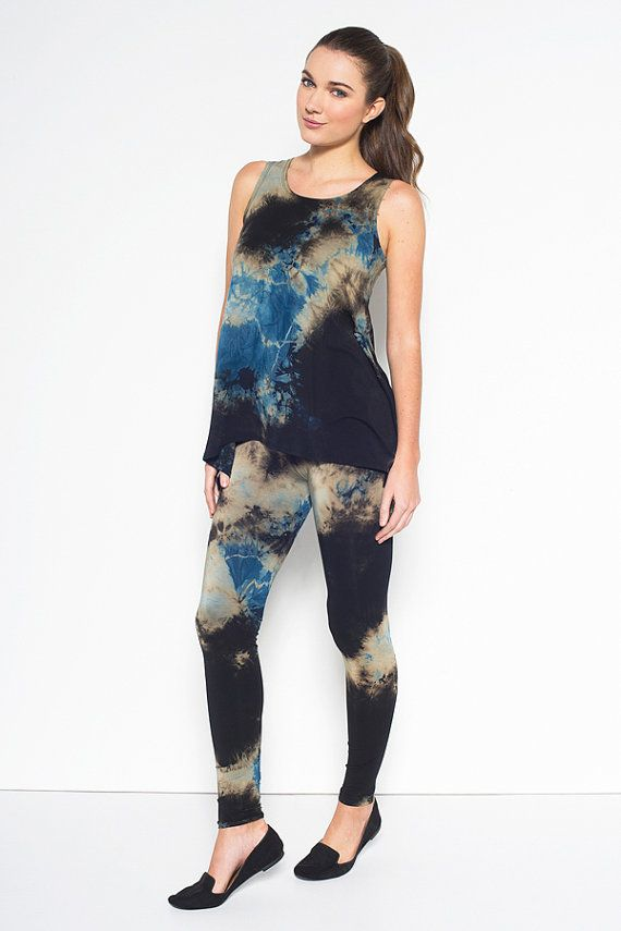 High waisted Black Bamboo Leggings with Tie dye by MashaApparel