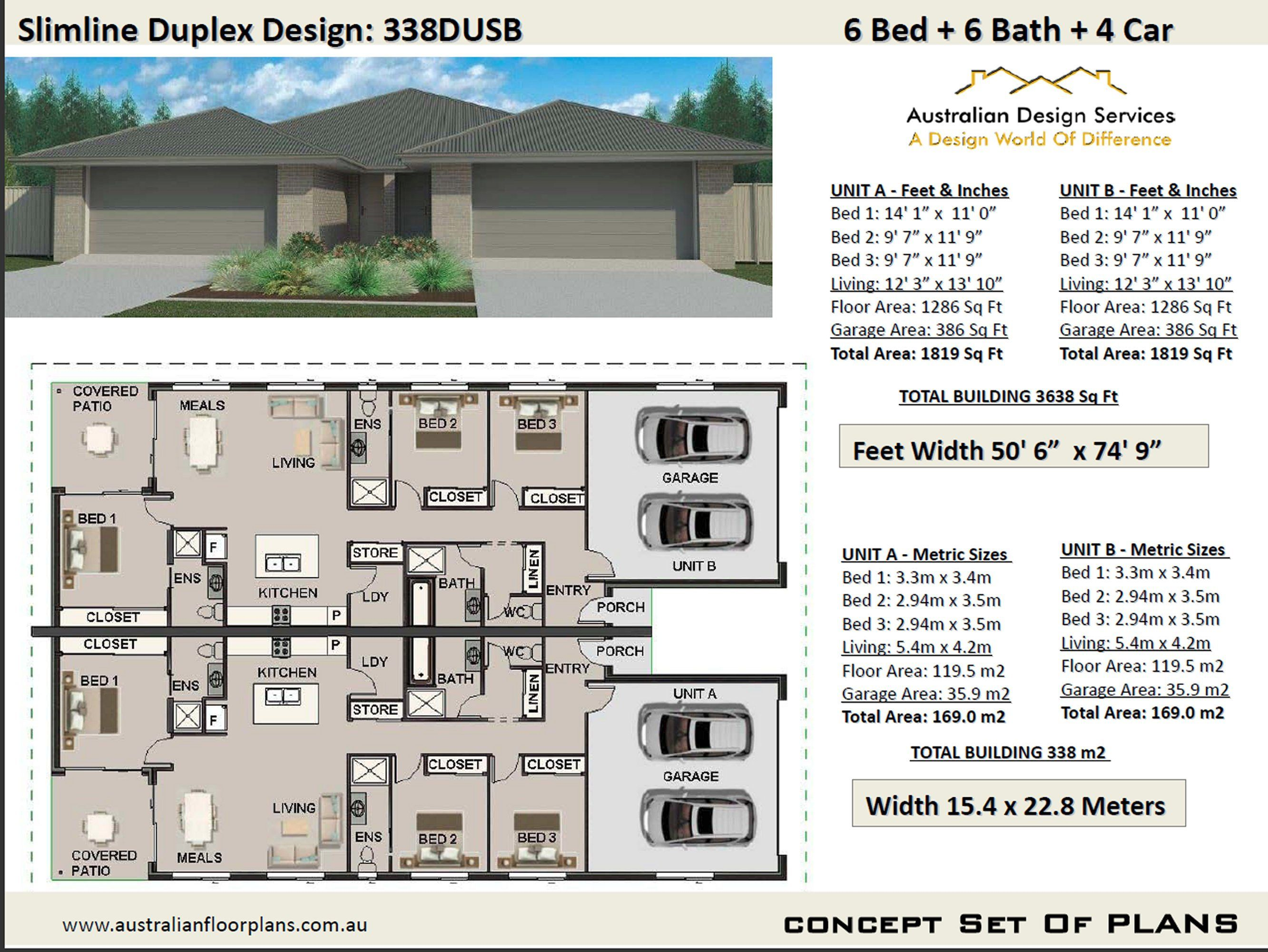 Slimline Narrow Duplex Design 6 Bed 6 Bath Duplex House Etsy In 2021 Duplex Design House Plans Australia House Plans For Sale