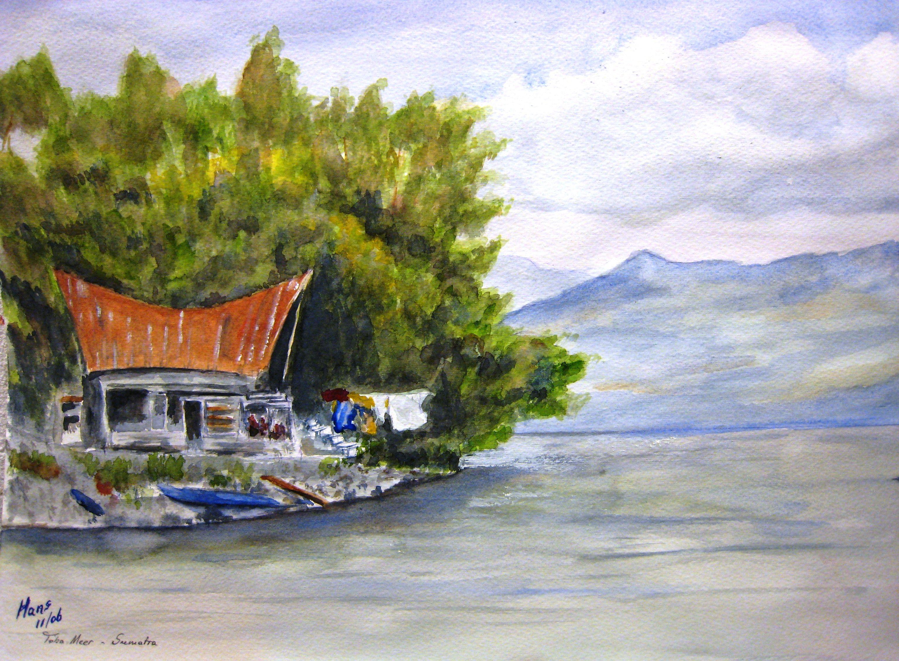 Aquarel Sfeerplaatje Van Het Tobameer Op Sumatra Indonesie Door Hans J Sitters Aquarel Schilderij Indonesie