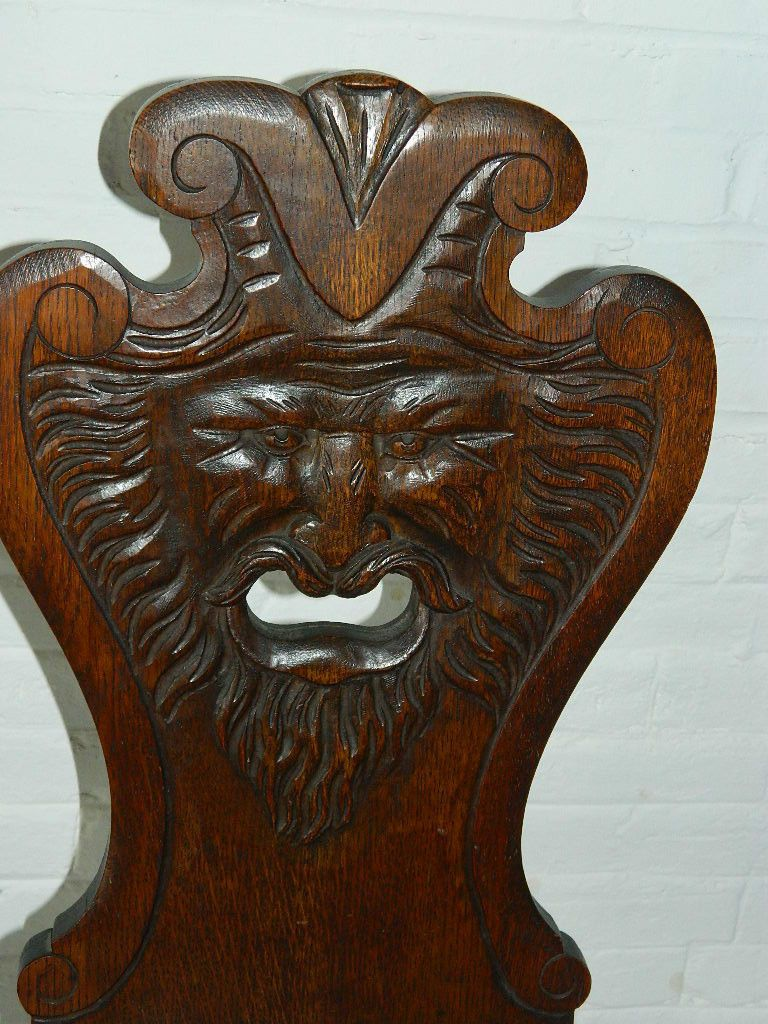 Antique Hand Carved North WInd Face Chair All Original Hand Crafted Joinery - Antique Hand Carved North WInd Face Chair All Original Hand