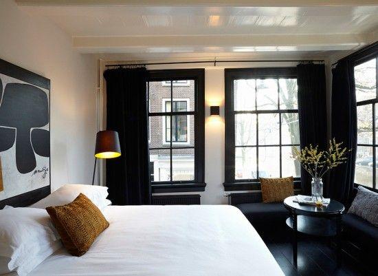 Black U0026 White Bedroom, White Gloss Ceiling, Ebony Wood Floors, Black  Curtains,