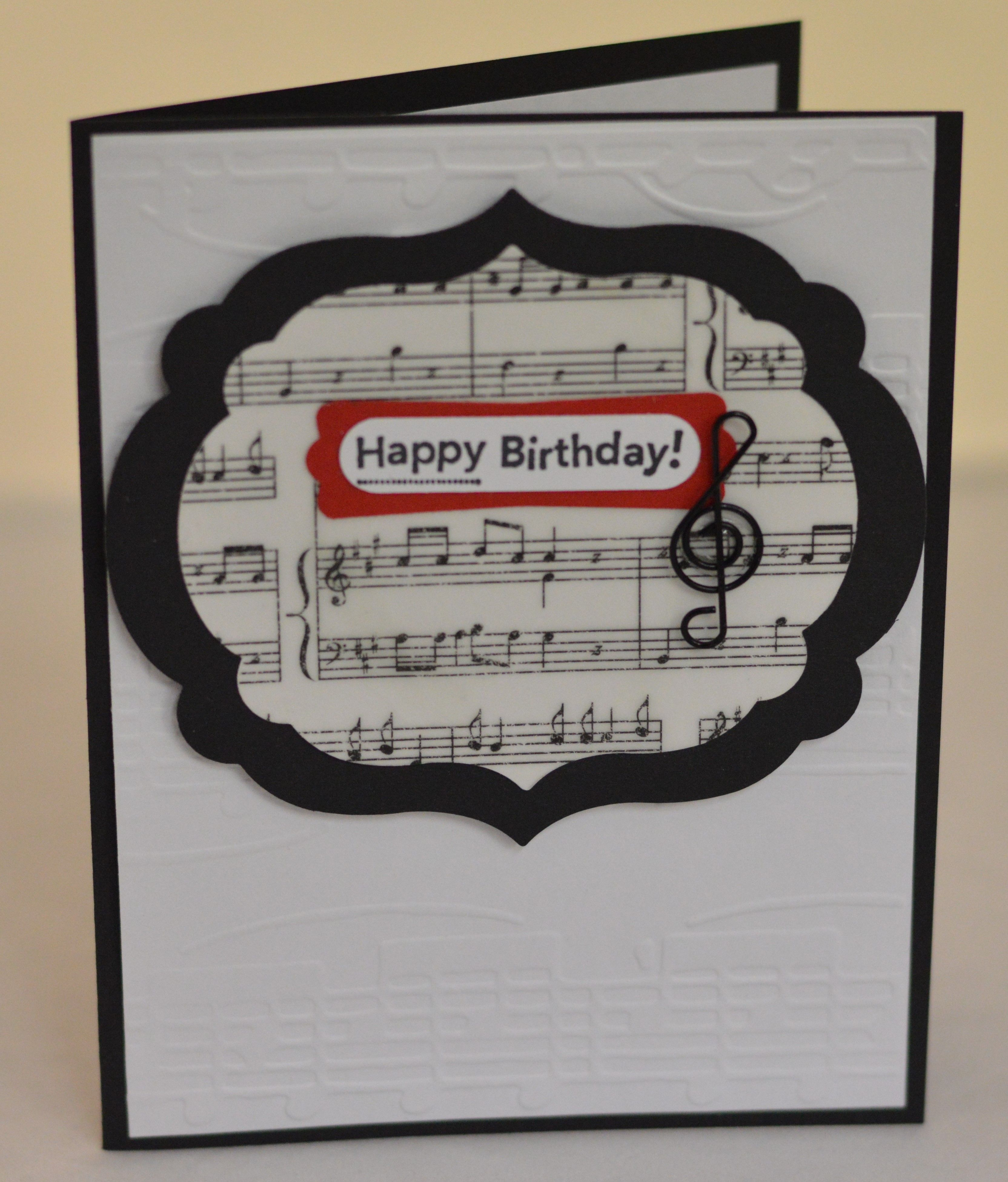 Musicthemed birthday card black white red – Themed Birthday Cards