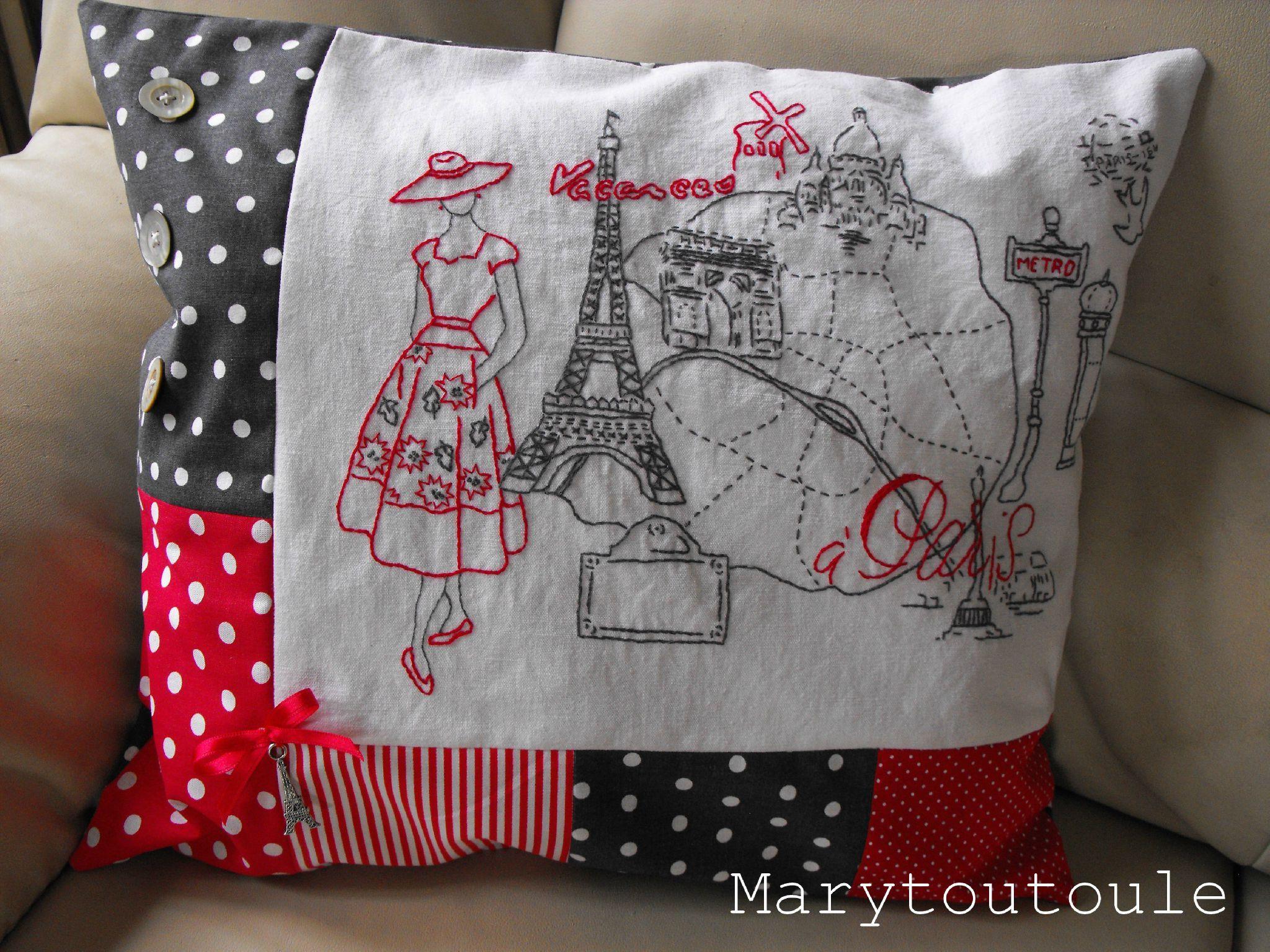 vacances paris marytoutoule stitch it pinterest broderie couture et housse de coussin. Black Bedroom Furniture Sets. Home Design Ideas