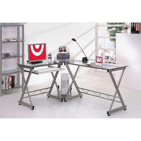 L Shaped Computer Desk Silver Clear Techni Mobili Glass Computer Desks Computer Desk L Shaped Corner Desk