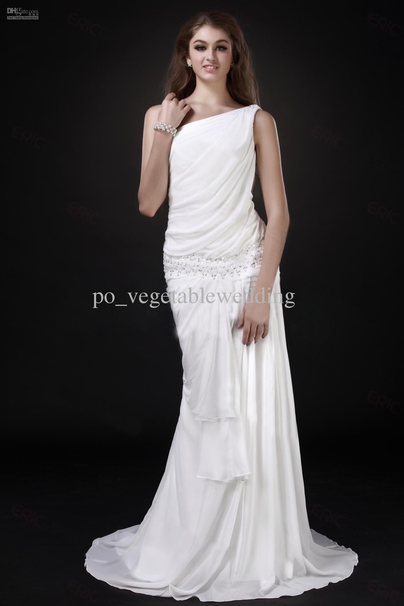 Vintage Beach Wedding Dress Greek Goddess Ruffle One Shoulder Sequin A Line Elegant Chiffon SA NA00