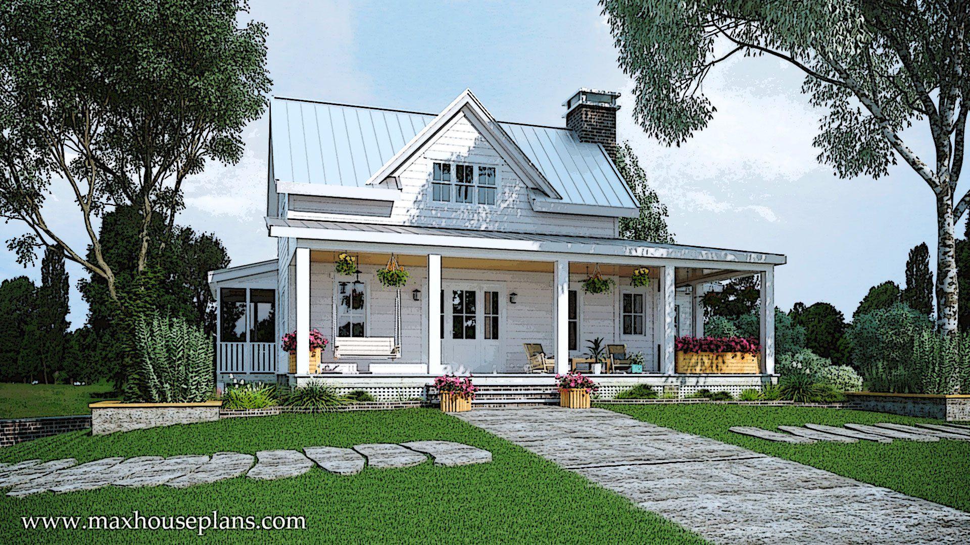 Modern farmhouse floor plan with wraparound porch max