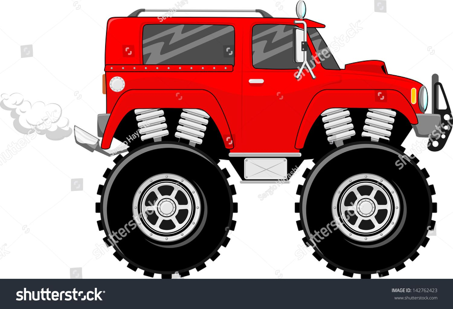illustration of big wheels red monstertruck cartoon isolated on white background #Ad , #AFFILIATE, #wheels#red#illustration#big