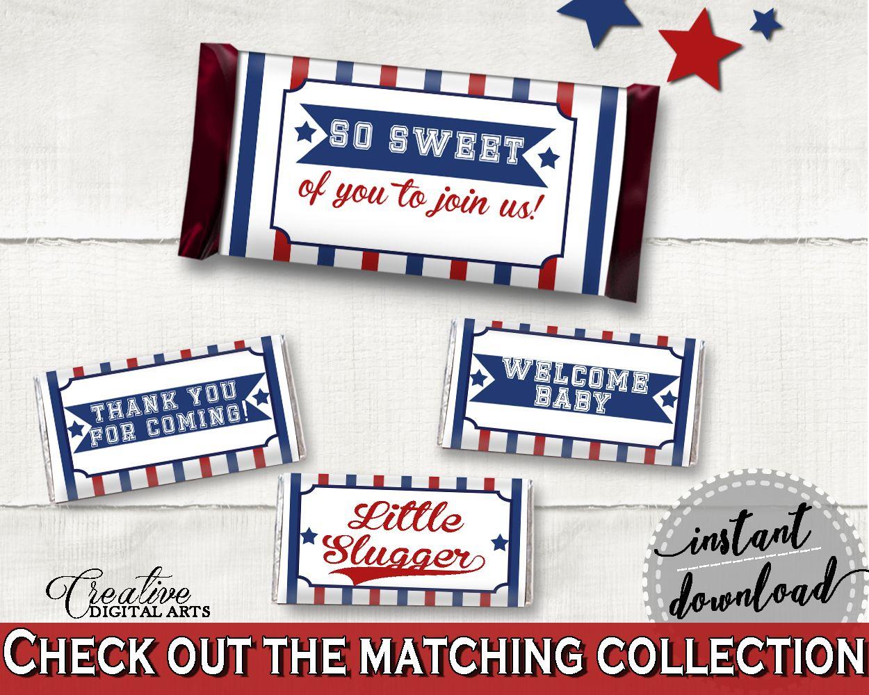 Baseball Hershey Candy Bar Wrapper Printable Blue Beige