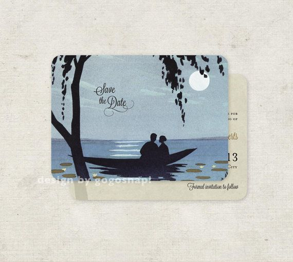 Lake Themed Save The Date Wedding Invitations Vintage Boat Set Of 100 Add Your Cat Or Dog