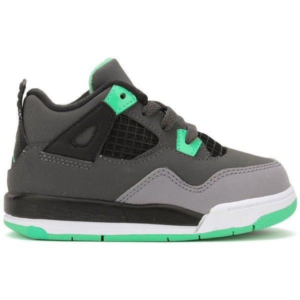 Nike Air Jordan 4 Retro Infants Toddlers Kids Shoes Grey/Black/Green.