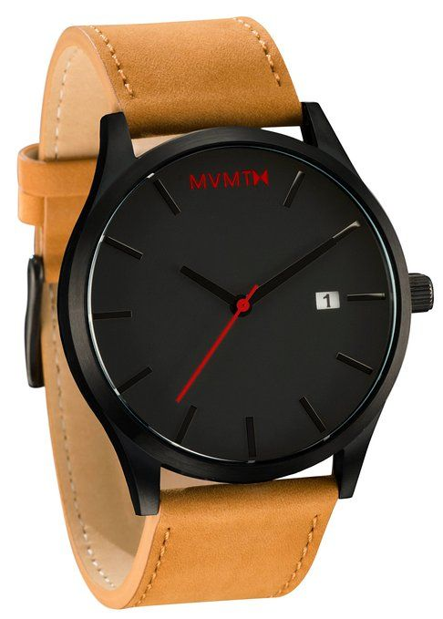 $87.60 MVMT Watches Black Face with Tan Leather Strap Men's Watch