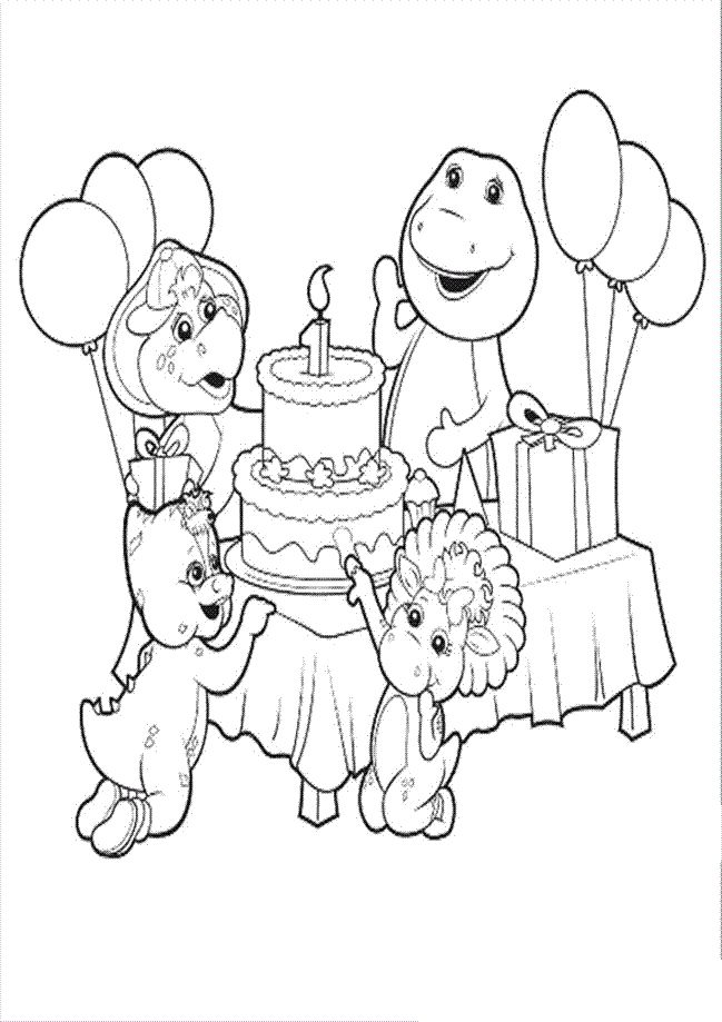 Barney Birthday Coloring Pages barney birthday coloring pages az ...