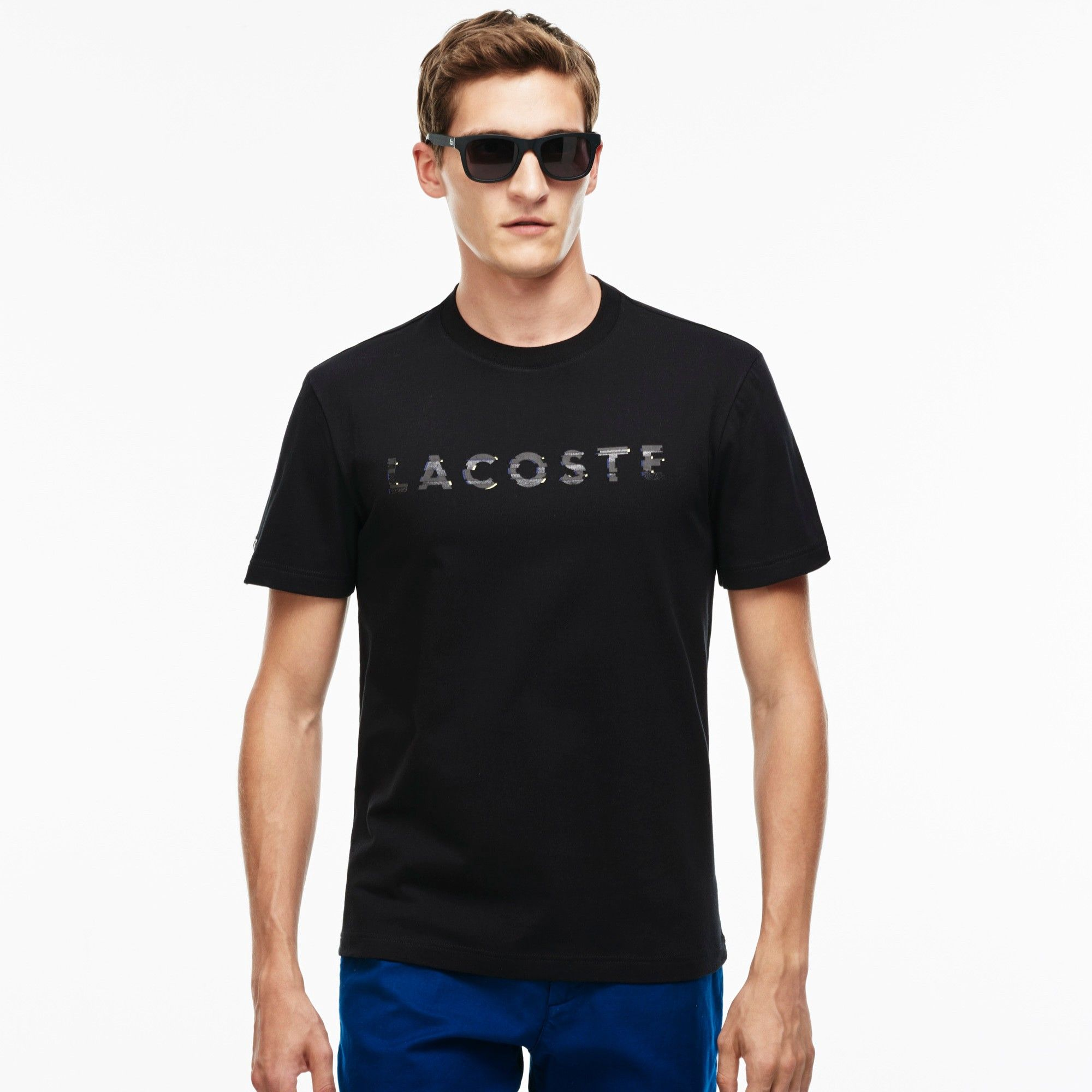 LACOSTE Men s Lacoste Lettering Crew Neck Jersey T-Shirt - black.  lacoste   cloth   9e0d82d9e1