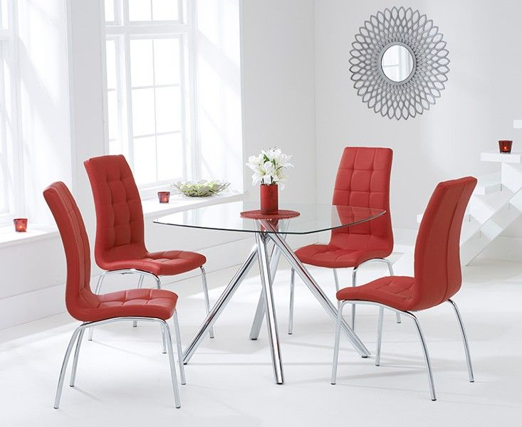 Elva 100cm Gl Dining Table With Red Calgary Chairs