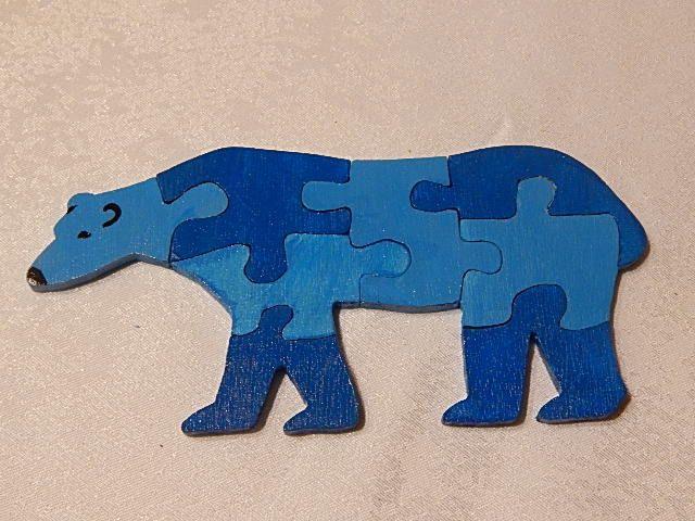 Puzzle en bois forme ours, pour enfant : Jeux, jouets par creacendre | Puzzle en bois, Jouet ...