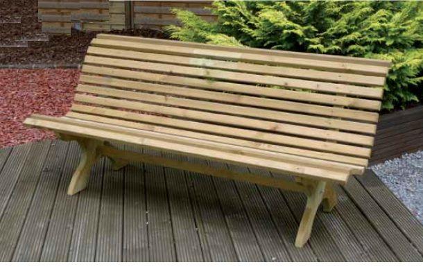 Banco en madera para jardin 014 mobiliario para el - Bancos de forja para jardin ...