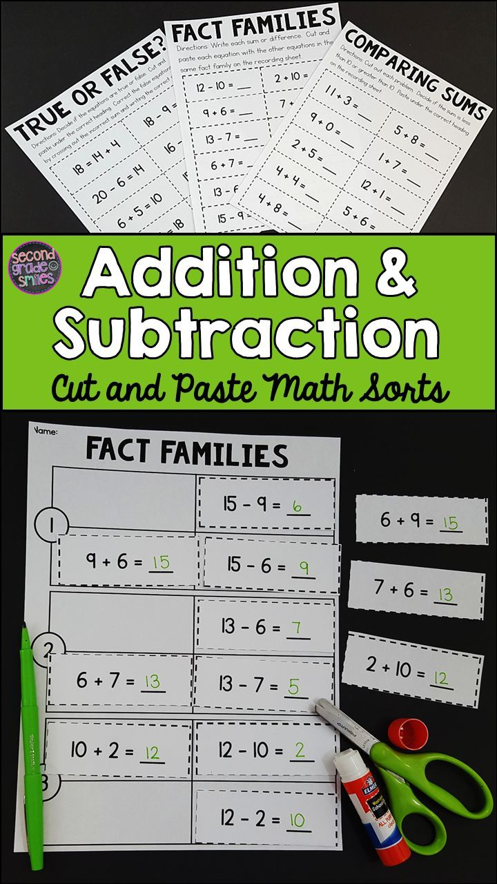 Addition and Subtraction Cut and Paste Math Sorts | Math, Worksheets ...
