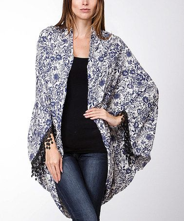 Look what I found on #zulily! Blue Floral Lace-Trim Wide-Sleeve Cardigan #zulilyfinds