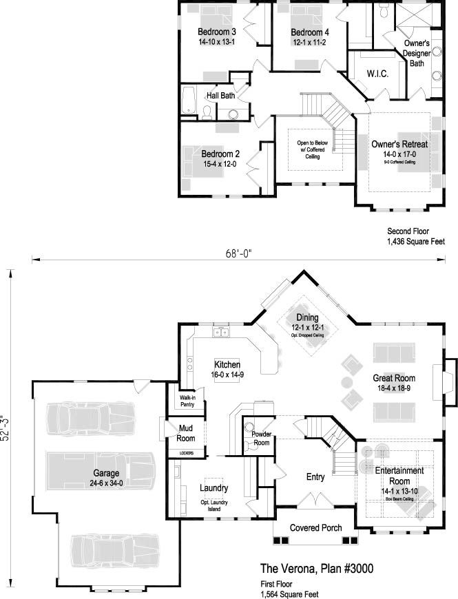 The Verona Plan 3000 3 000 Sq Ft 4 Bedroom 2 5 Bath Floor Plans 2 Story House Plans One Story Square House Plans