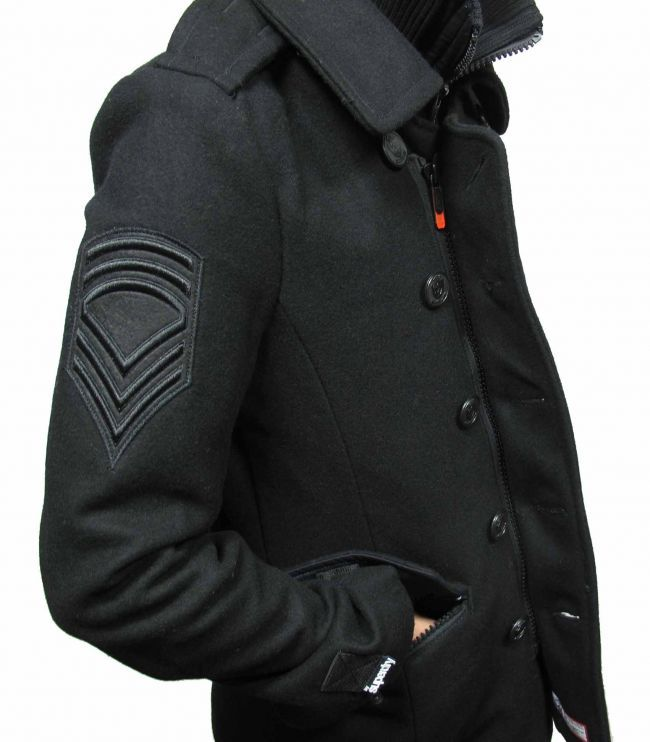 Superdry Fashion Clothing Mens Pea Coat, Black. For JC | Character ...