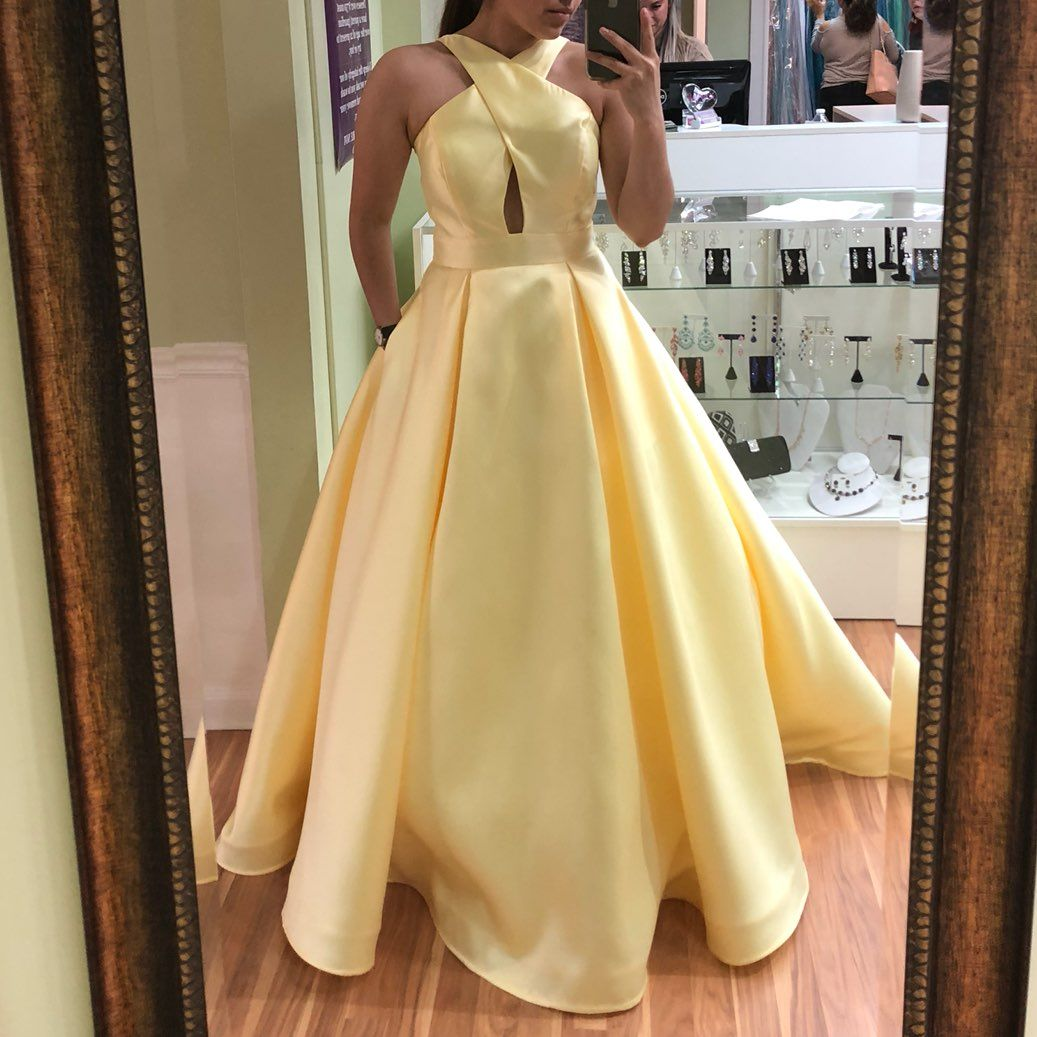 Beautiful yellow prom dress worn once it has been altered ium