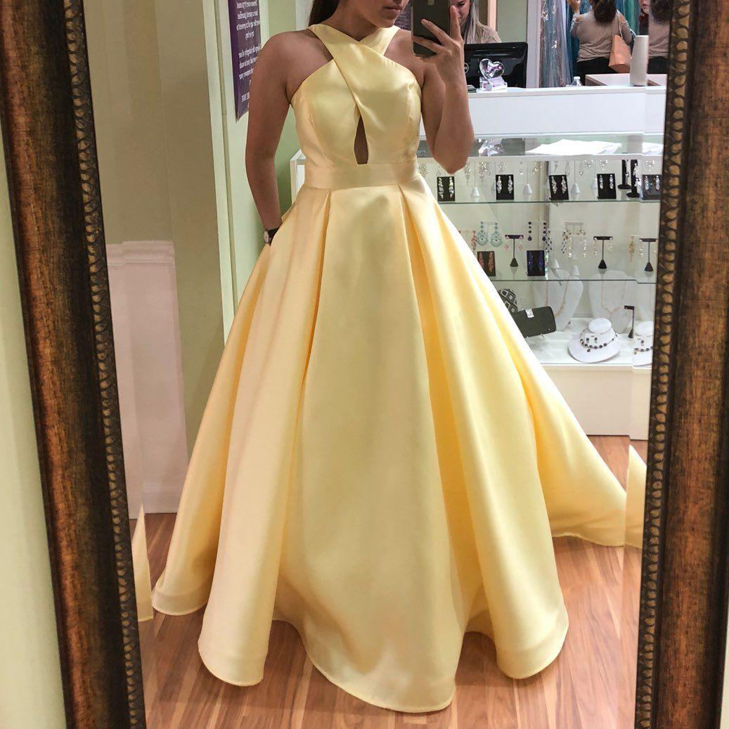 beautiful yellow prom dress. worn once. it
