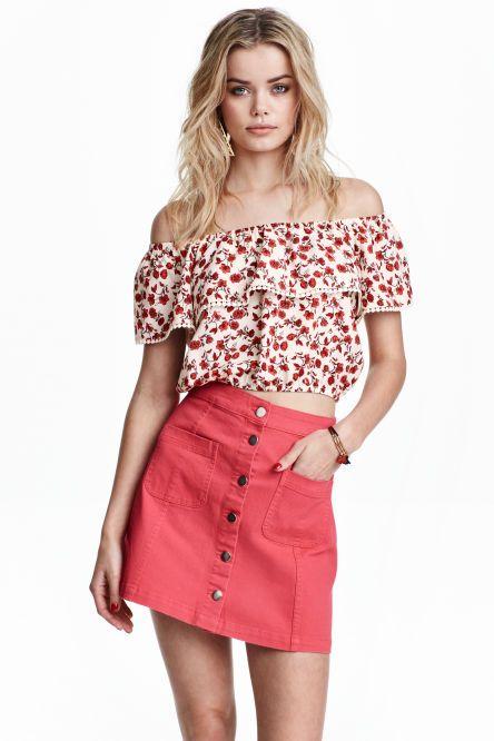 8d1d066ac Falda de corte evasé | H&M | Faldas, Faldas con botones y Faldas cortas