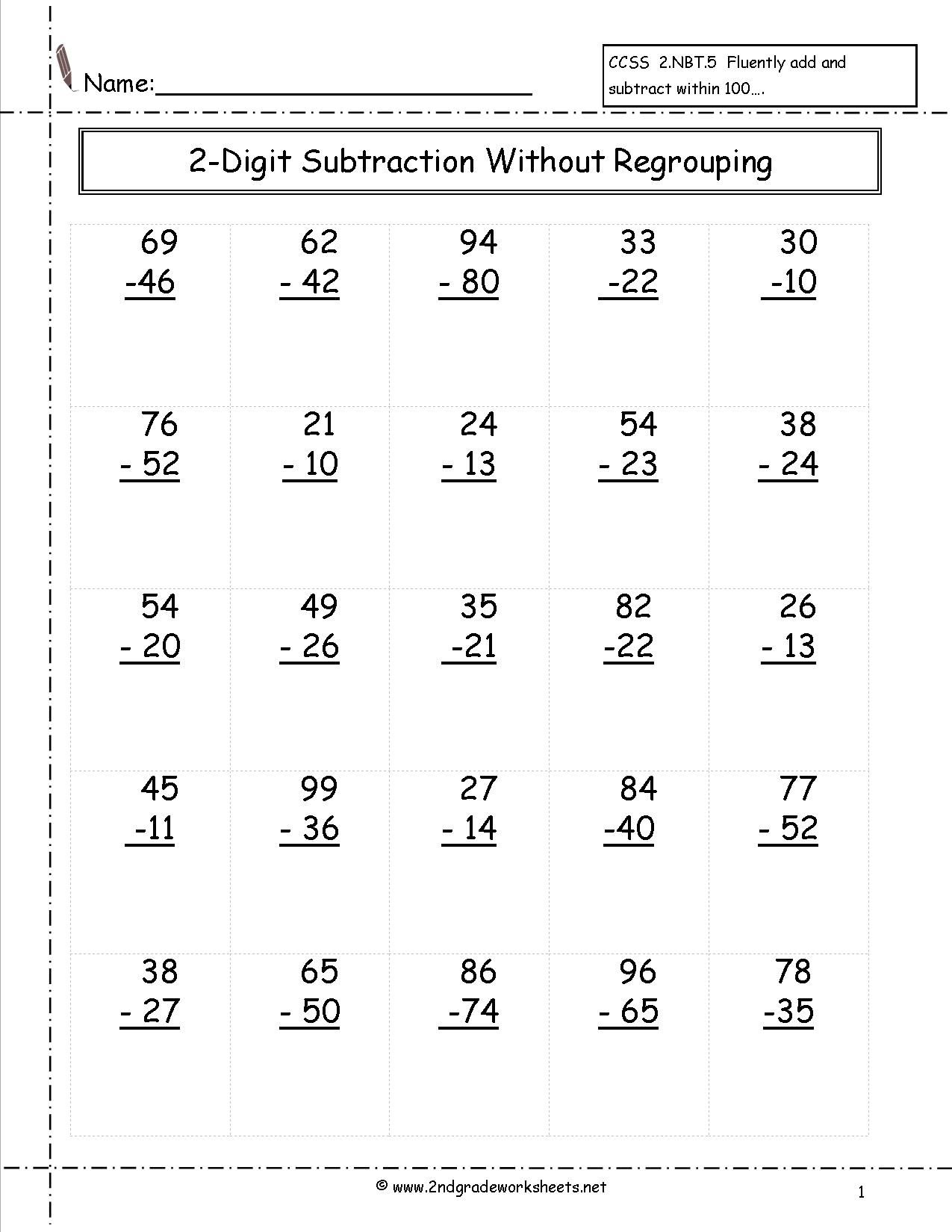 Worksheets Math Worksheet Second Grade two digit subtraction without regrouping worksheet 2nd grade 1st mathkindergarten