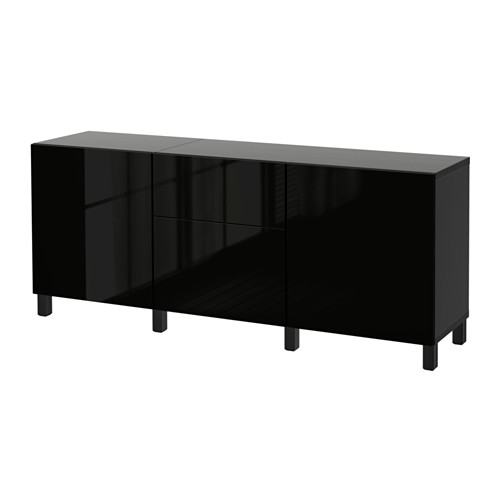 BESTÅ Storage combination with drawers, black-brown, Selsviken high-gloss/black black-brown/Selsviken high-gloss/black drawer runner, soft-closing 70 7/8x15 3/4x29 1/8