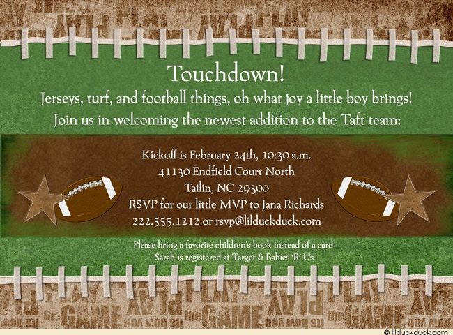 10 football baby shower invitations, all star invitation -- die, Baby shower invitations