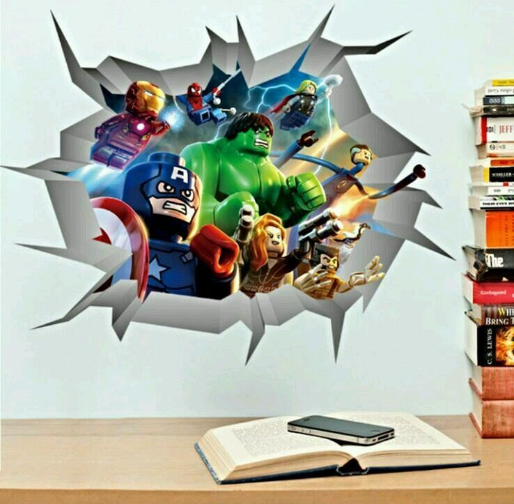 Marvel avengers breaking through wall decal iron man hulk spiderman thor more in home