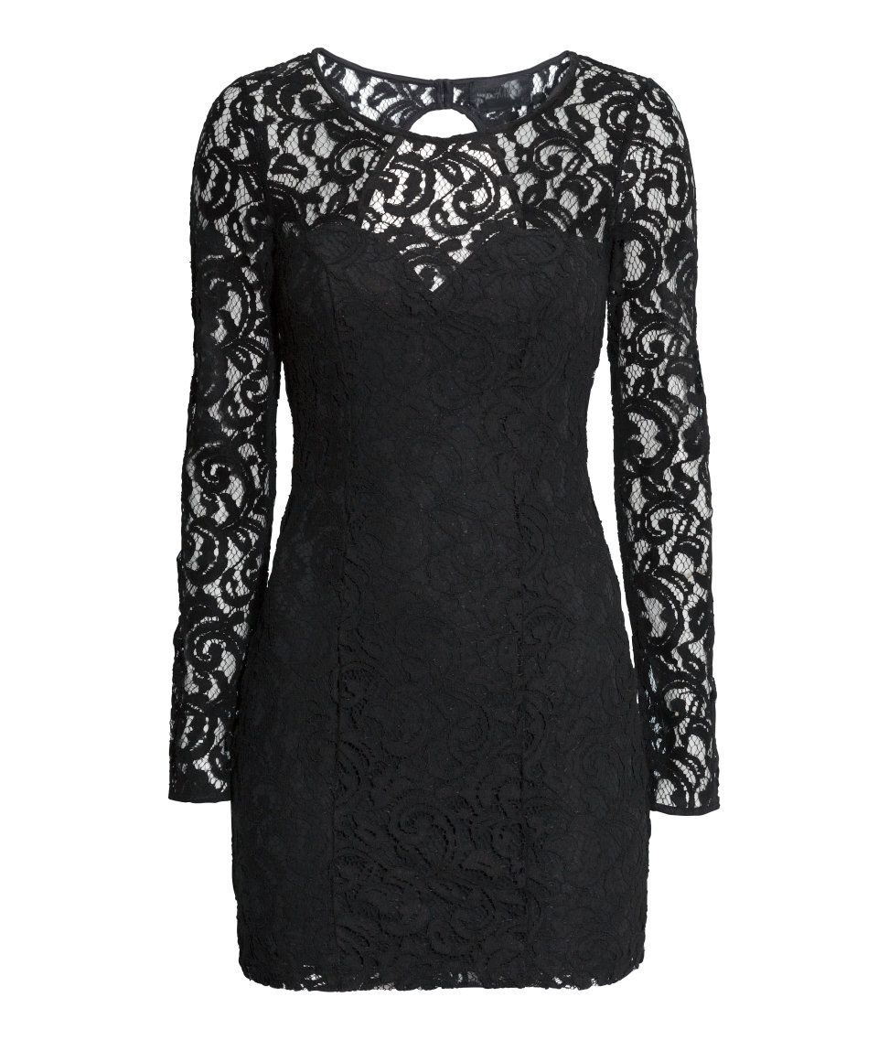 Short fitted black lace dress with long sleeves open back and