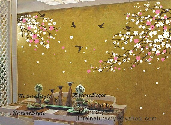 cherry blossom wall decal with flying birds-cherry blossom wall ...