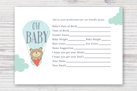 Printable Baby Prediction Card Baby Prediction Cards Baby Shower Prediction Cards Baby Prediction