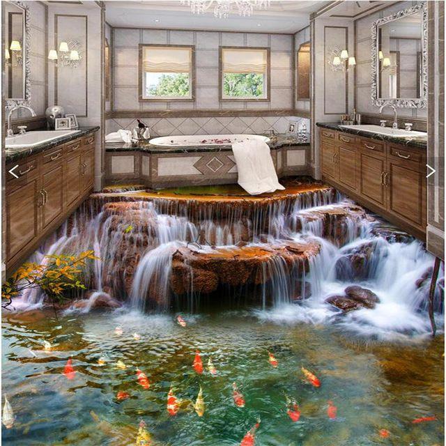 sol personnalis 3d papier peint rivi re eau carpe salle de bain sol mural 3d pvc papier peint