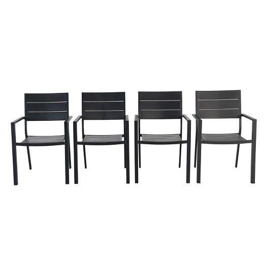 4pk Metal Slat Stack Patio Chair Threshold