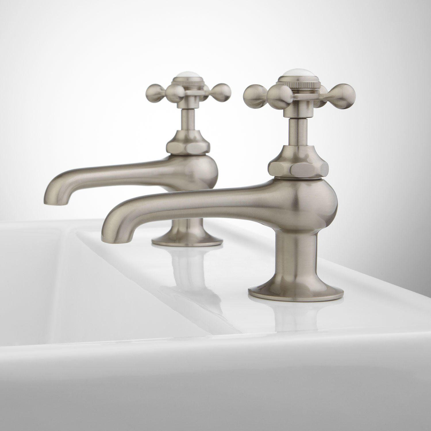 Reproduction Cross Handle Sink Faucets Pair Chrome Bathroom