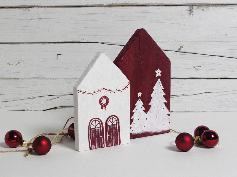Vintage weihnachtsdeko weihnachtsdeko holz h uschen set ein designerst ck von melkey bei - Vintage weihnachtsdeko ...