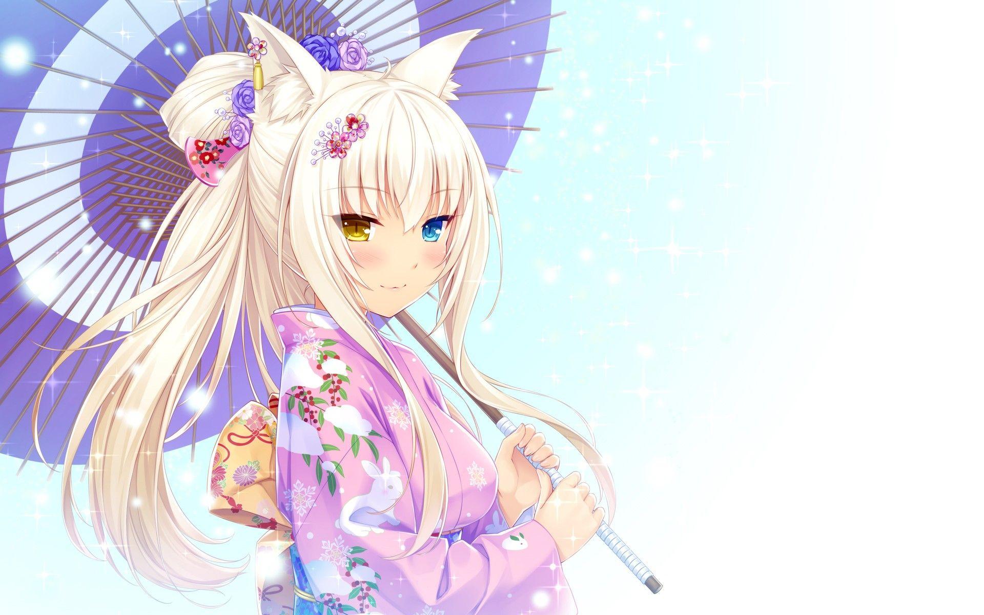 Anime anime girls anime cat girls umbrella Neko Para