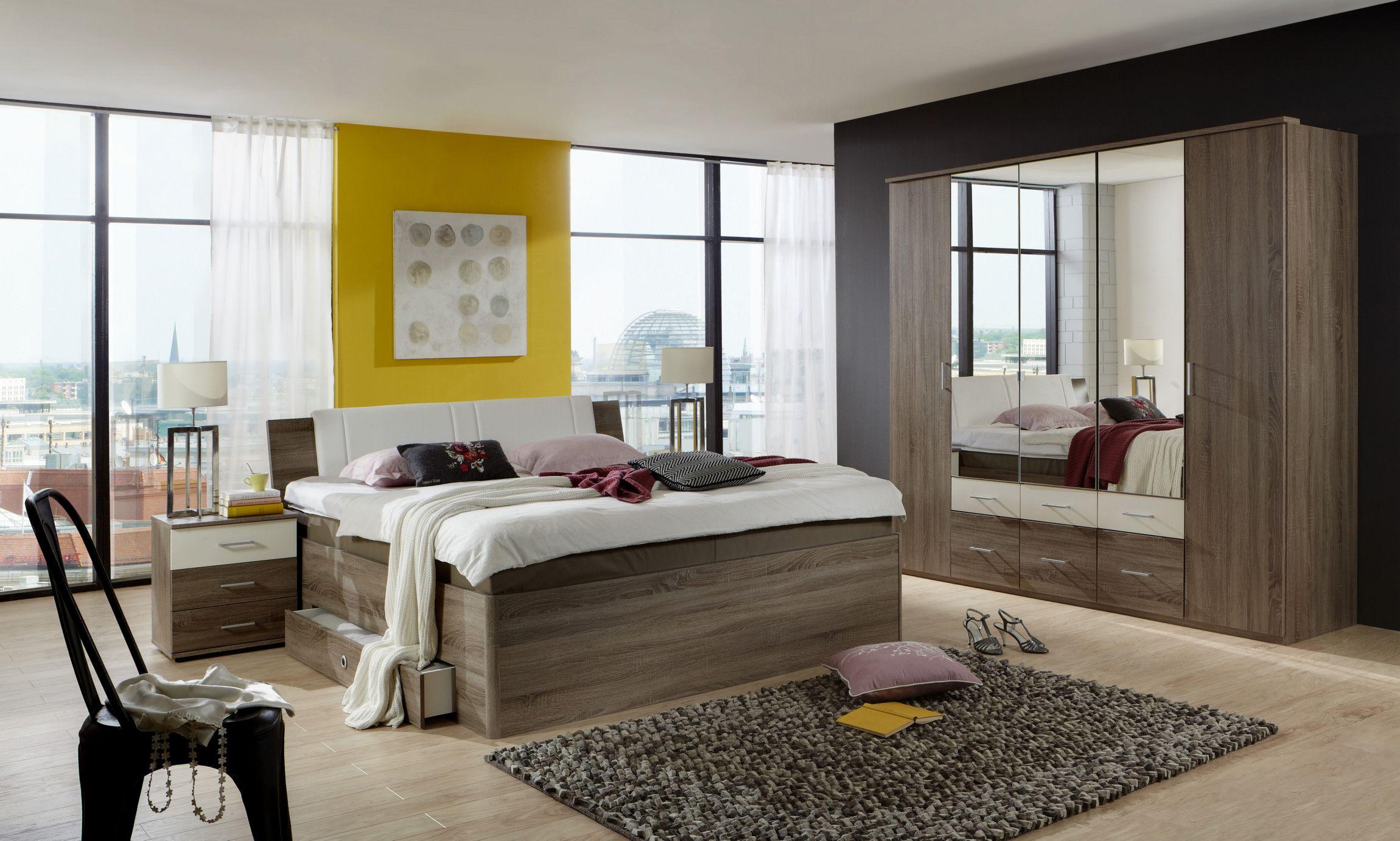 Schlafzimmer Mit Bett 180 X 200 Cm Montana Eiche