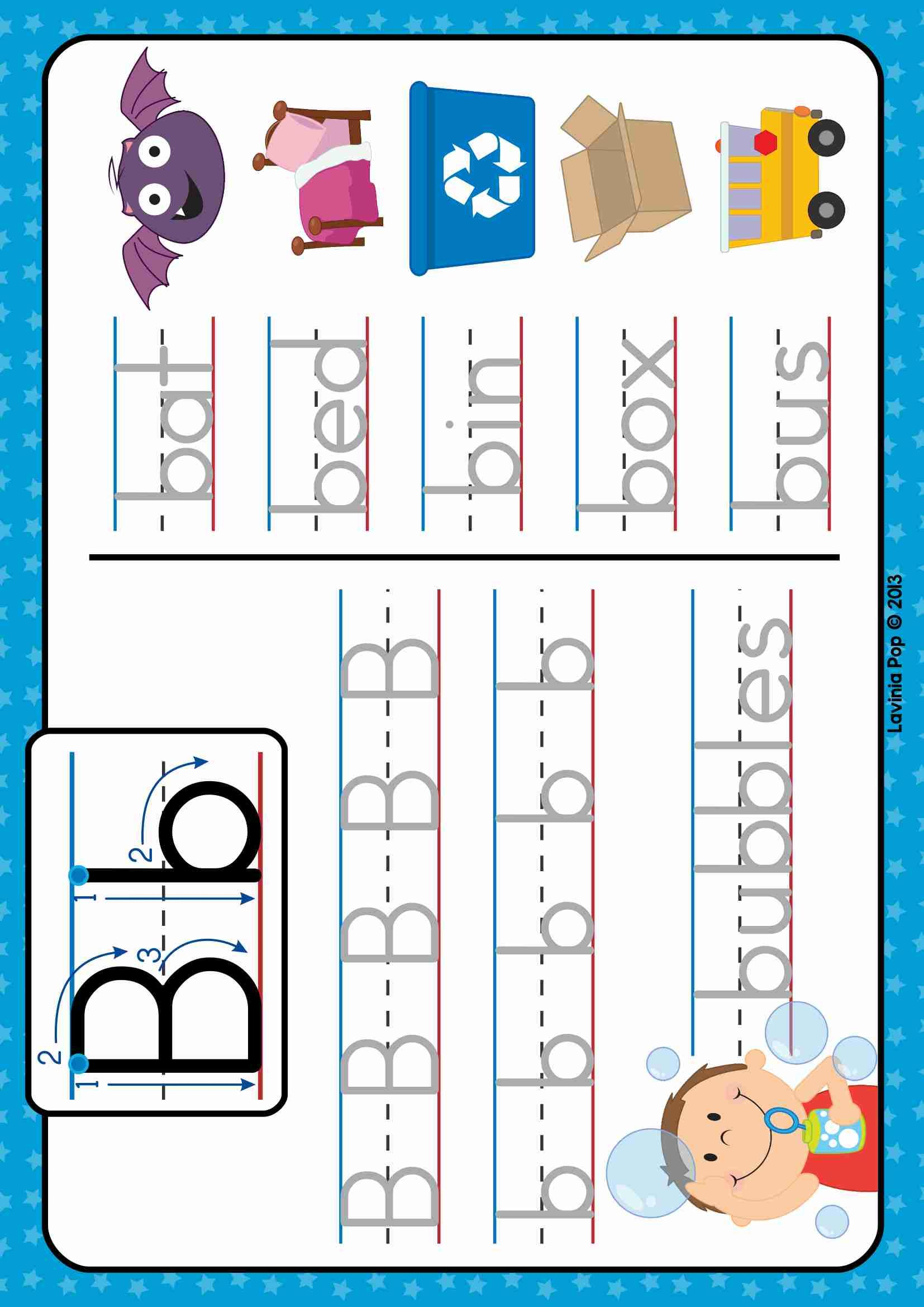 FREE Phonics Letter of the Week B. Write and wipe tracing
