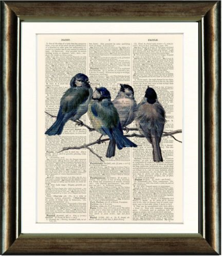 antique book page art print vintage bird dictionary print old book page print ebay - Prints On Old Book Pages