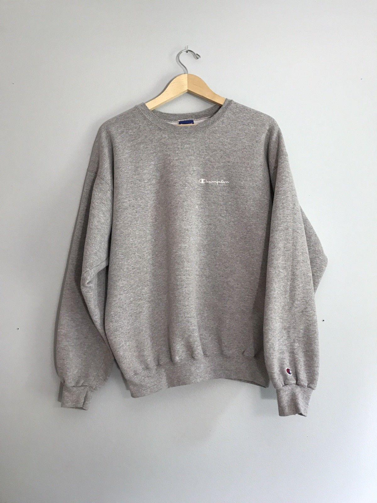 b3b445b55 Vintage Champion Script Logo Crewneck Sweatshirt Size XL Grey ...