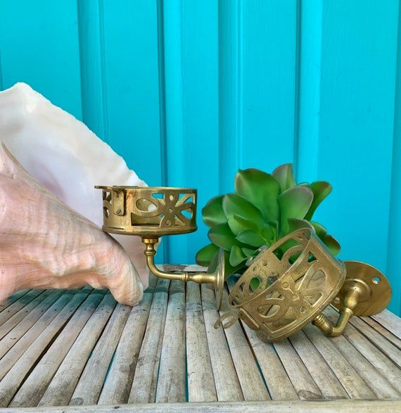 "Photo of FREE SHIPPING-Vintage Antique ""Set of 2"" Brass Cup & Toothbrush Holders-Wall Mount Fixtures-Bathroom"